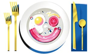 Plate with food in shape of a smiley face - fried egg and tomato as eyes and bacon as mouth - also has a spider on it