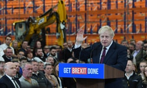 Boris Johnson at the JCB plant in Uttoxeter.