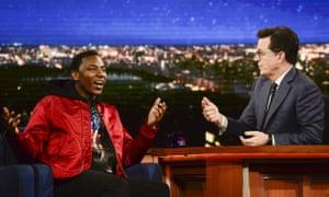 The Carmichael Show creator Jerrod Carmichael with Stephen Colbert