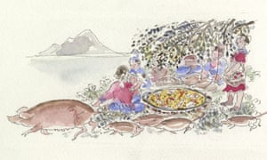 an illustration by the author of a family eating a meal outdoors on the shores of a sea while pigs and piglets run past them