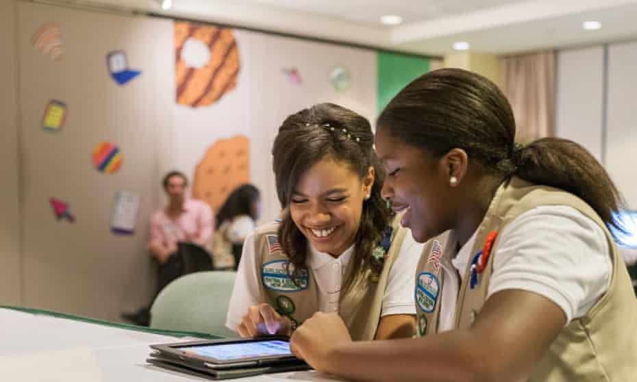 Girl Scouts practice selling cookies digitally.