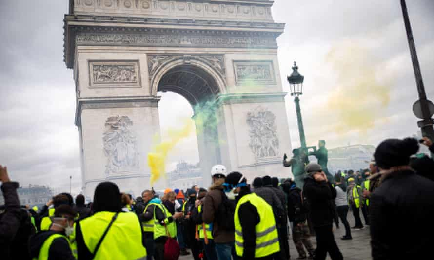 Gilets jaunes protesters on the Champs Élysées on 16 March