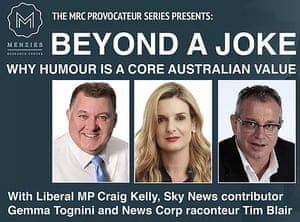 Menzies Research Centre ad for an event, 'Beyond a Joke: Why Humour is a Core Australian Value.' 1 May 2018.