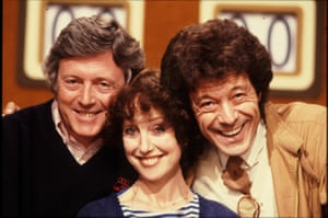 Una Stubbs pictured as a team captain of celebrity game show Give Us A Clue, which began in 1979, alongside host Michael Aspel (left) and opposing team captain Lionel Blair.