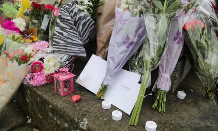 Tributes left at the scene where Jo Cox MP was killed.