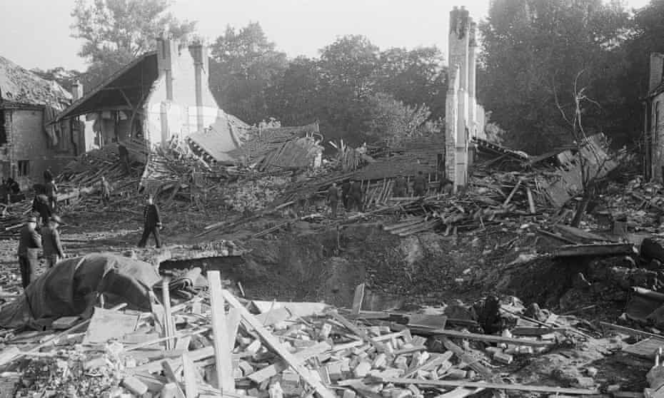 The aftermath of a V2 explosion, London 1944