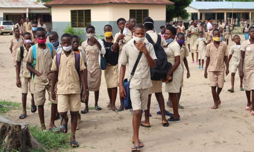 Students in Cotonou in Benin return to school, 11 May 2020.