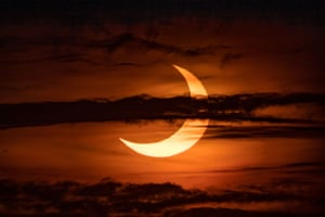 Picture taken with permission from the Twitter feed of @spacebrandonb during the partial solar eclipse from Long Island, New York