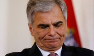Werner Faymann at news conference in Vienna last week. He has resigned as chancellor of Austria.