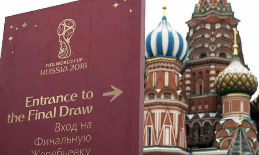 Directions to the World Cup finals draw, Saint Basil Cathedral in the background