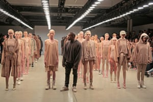 Kanye West on the Yeezy Season 2 catwalk.