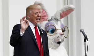 Donald TrumpPresident Donald Trump, joined by the Easter Bunny, speaks from the Truman Balcony during the official annual White House Easter Egg Roll, Monday, April,17, 2017, on the South Lawn of the White House in Washington. (AP Photo/Carolyn Kaster)