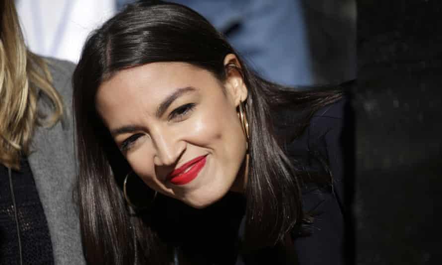 Alexandria Ocasio-Cortez attends a rally for Senator Bernie Sanders in Queensbridge Park, New York City.
