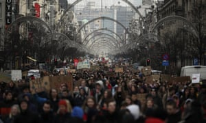 Thousands in a climate change protest in Brussels