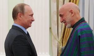 Hamid Karzai meets Vladimir Putin in Moscow