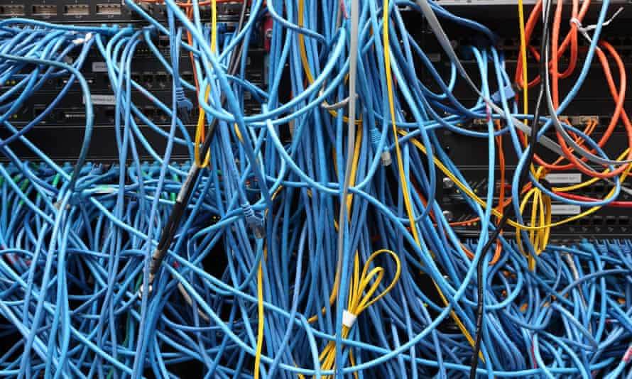 A messy bunch of ethernet cables.