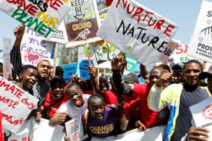 Protest calling for action on climate change, in Nairobi, Kenya