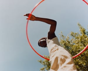 """Untitled, Sosa with Orange Hula Hoop, 2019""""I make very little distinction between my commissioned and my personal works, using them both as an opportunity to create this utopian universe."""""""