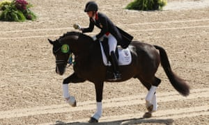 Charlotte Dujardin riding Valegro celebrates her gold after winning the dressage individual title