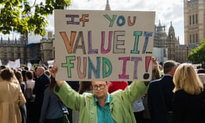 Teachers on a demonstration calling for an end to austerity cuts.