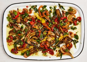 Yotam Ottolenghi's grilled and marinated sandwich vegetables.