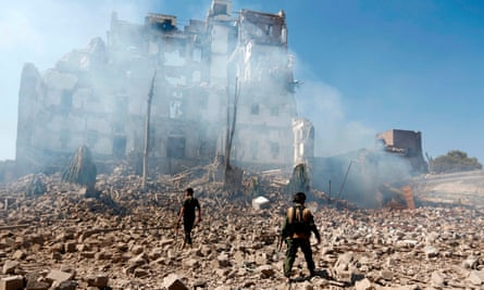 Damage caused by an air strike carried out by the Saudi-led coalition in the Yemeni capital Sanaa on December 5, 2017.