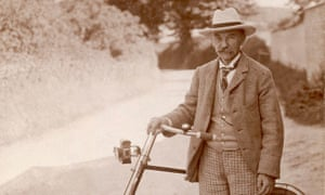 Thomas Hardy, writer and cyclist, at his home in Dorchester, early 1920s.