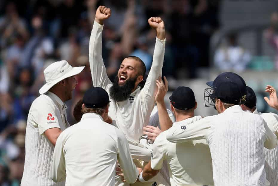 Moeen Ali celebrating after completing his hat-trick against South Africa at the Oval in July 2017.