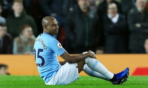 Fernandinho was forced off in the Manchester derby.