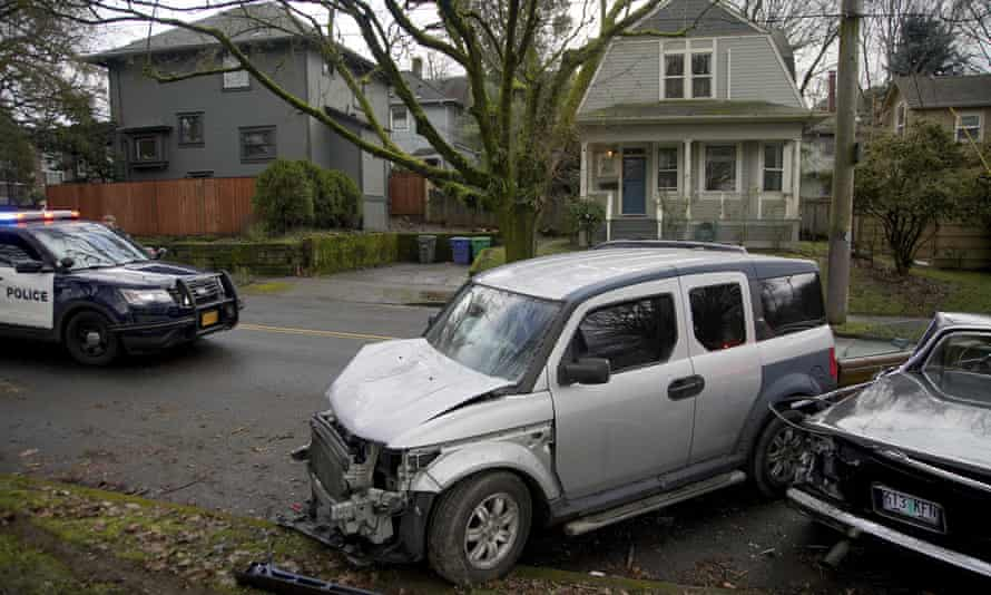 Wrecked vehicles in Portland. Rivas was booked into jail on initial charges including second-degree murder.