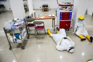 Medical staff on floor