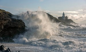 High seas at Mumbles lighthouse near Swansea