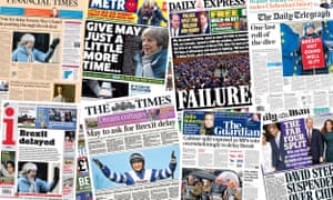 Several of the papers say the delay strengthens the PM's arm against Tory Brexiters.