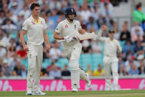 England captain Joe Root runs between the wickets to add to his total.