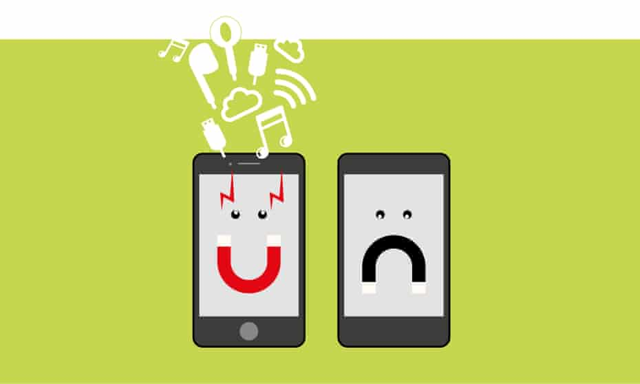 Illustration by Paul Tansley of a happy phone and a sad phone