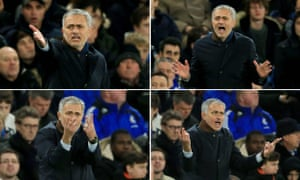 Chelsea manager José Mourinho shouts on the touchline during the Premier League defeat to Bournemouth.