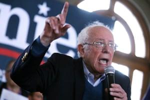 Bernie Sanders speaks in Perry, Iowa.