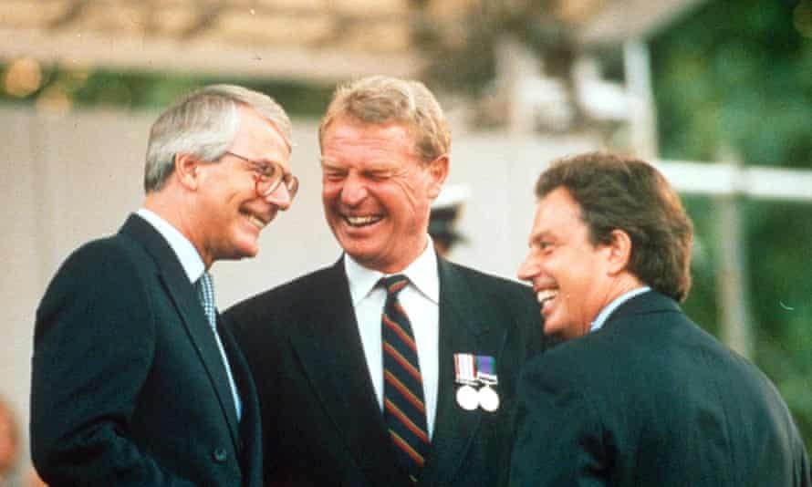 John Major (then prime minister), Paddy Ashdown and Tony Blair (Labour leader) at the VE-Day celebrations in London, 1995.
