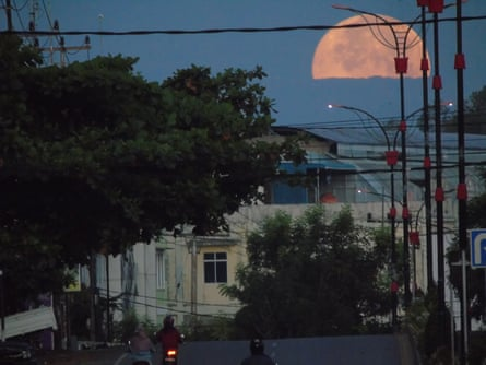 The pink supermoon seen in Bintan island, Indonesia on Tuesday.