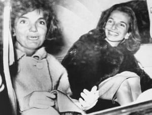 A tanned Lee and Jackie after a week's vacation in Florida are photographed in the back of a limousine in Washington DC.