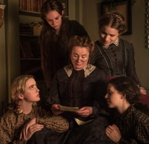 Emily Watson as Marmee, with (from left) Kathryn Newton as Amy, Maya Hawke as Jo, Willa Fitzgerald as Meg and Annes Elwy as Beth.