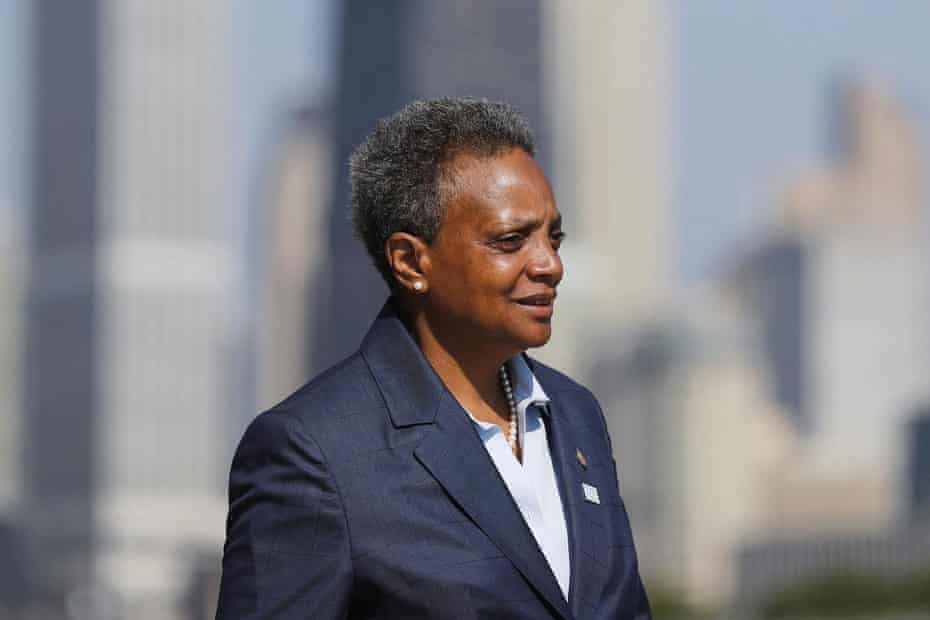 Mayor Lori Lightfoot speaks to the media regarding pausing the water meter program the before attending the Chicago Police Department graduation and promotions ceremony at Navy Pier in Chicago on July 9, 2019.