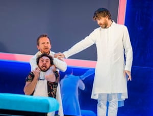 Sebastian Roché (left, above) as Orgon, George Blagden as Damis and Paul Anderson as Tartuffe at the Theatre Royal, Haymarket.