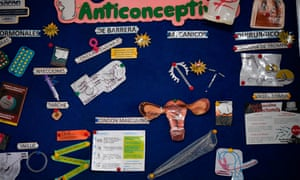 A board explaining contraceptive methods, Caracas, Venezuela