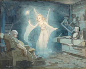 The Blue Fairy working her magic in a watercolour for Pinocchio (1940) by Swedish illustrator Gustaf Tenggren.