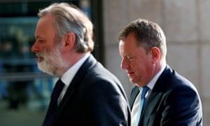 Britain's permanent representative to the EU, Tim Barrow (L), and the UK's chief negotiator, David Frost.