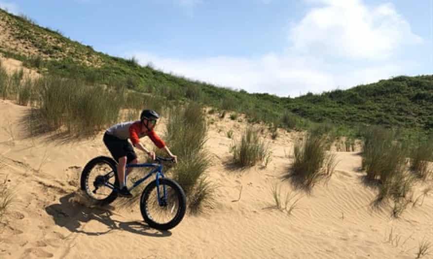 Fat biking on the dunes, Bridgend