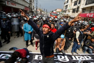 Kathmandu, Nepal. Activists of Rastriya Prajatantra Party stage a protest after the election commission don't allow them to enter the upcoming local elections