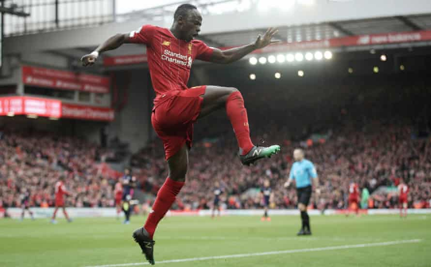 Sadio Mané celebrates Liverpool's winner against Bournemouth
