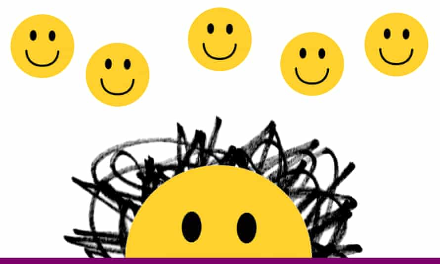 yellow smiley face with black scribbles for hair and five smiley faces floating above